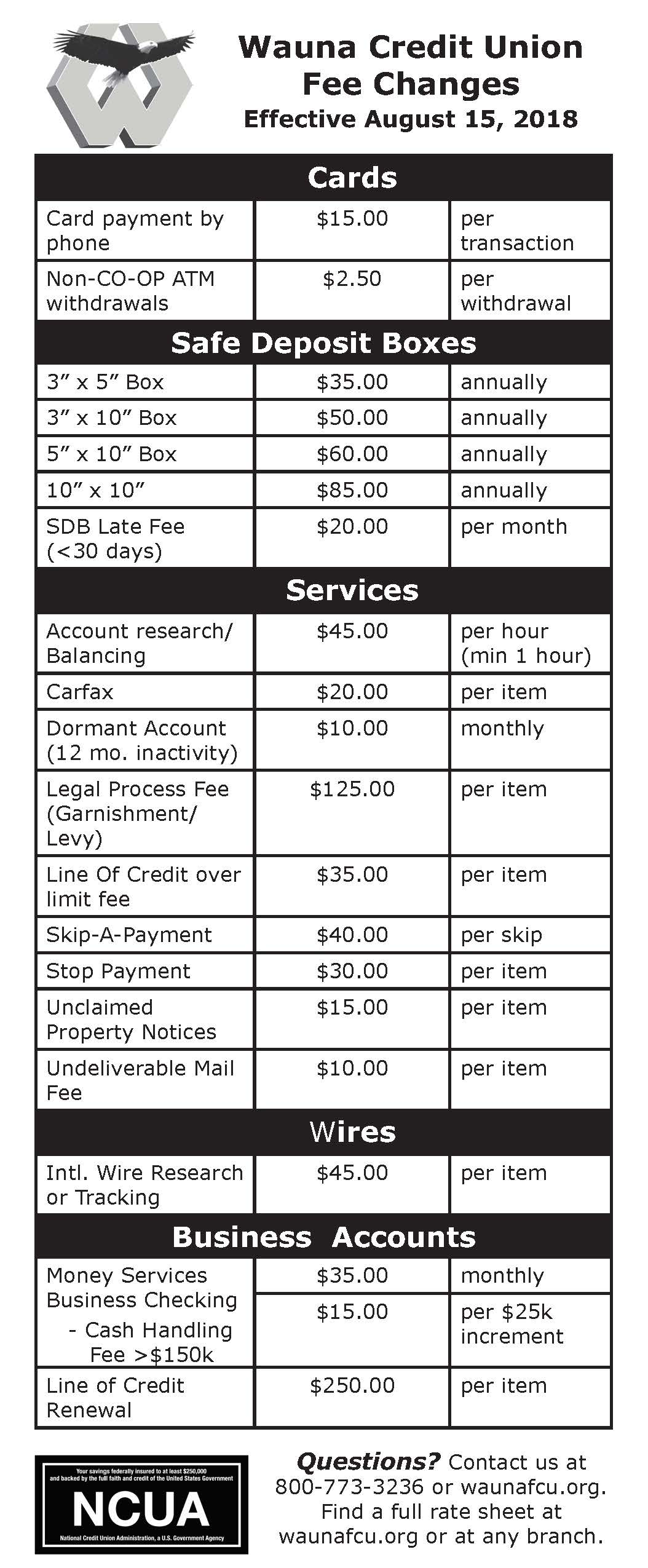 Fee Schedule Page 1