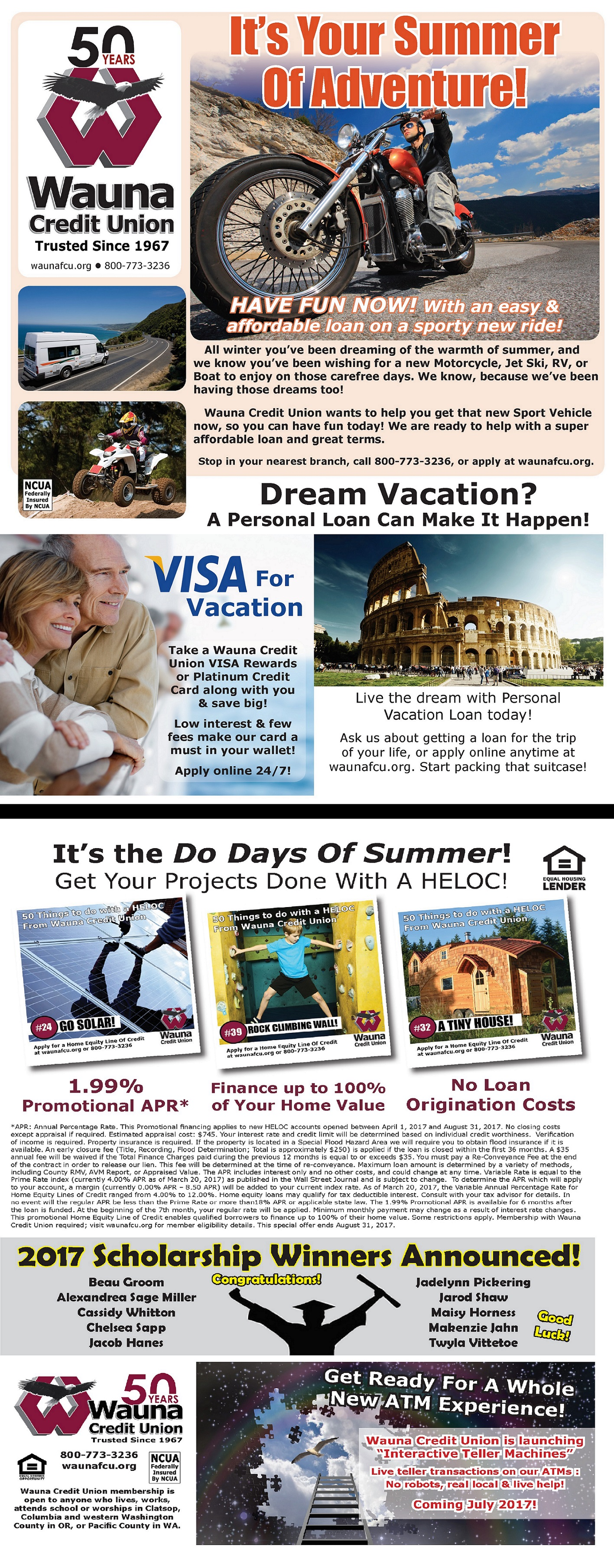 Wauna Credit Union July Checking Statement-Summer of Adventure, Vacation Financing, Do Days of Summer