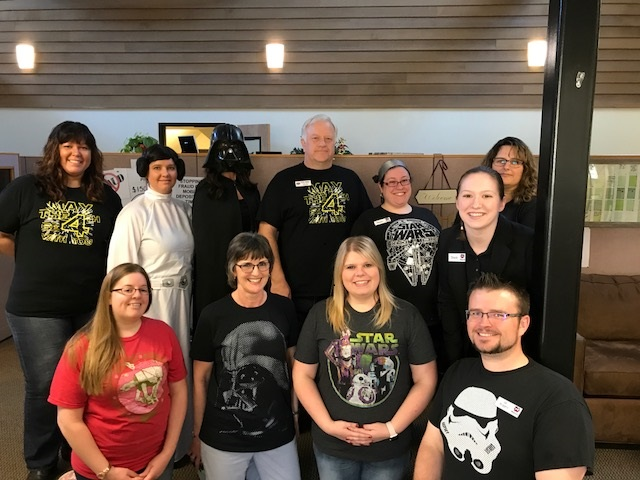 Image of WCU employees wearing Star Wars garb