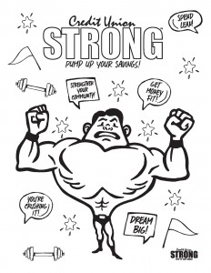 Credit Union Strong Coloring Page