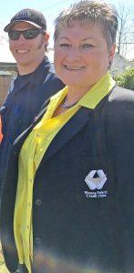 Debi Smiley, Wauna CU COO, with Long Beach Fire Chief Matt Bonney at the groundbreaking ceremony.