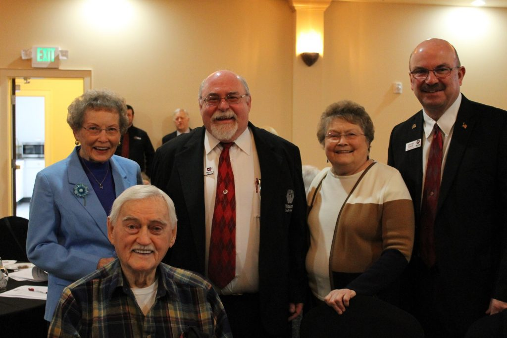 Wauna Credit Union CEO Robert Blumberg and current board chair George Dunkel stand with WCU's first employee Eileen Cheuvront, founding member Roland Ray Triplett and early employee Erlene Darby