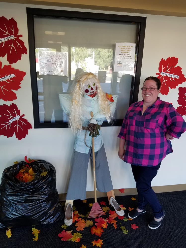 Megan with scarecrow