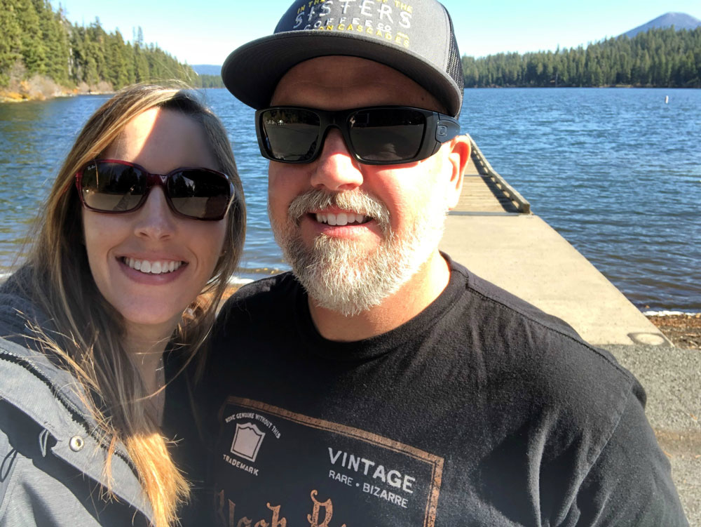 Sarah and her husband at the lake