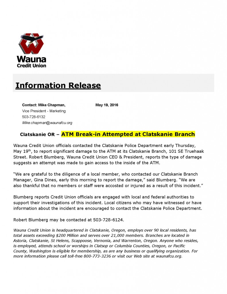 Wauna CU Information Release 5-19-16