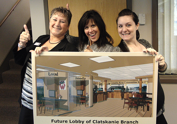Debi Smiley COO, Branch Manager Gina Dines, and Member Service Manager Heidi Peterson are super excited about the new branch. Now the question is which will arrive first, the new Clatskanie Branch unveil or Heidi's baby?
