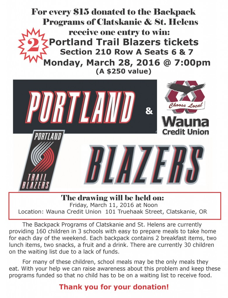 fundraiser for kids, raffle for trailblazers tickets