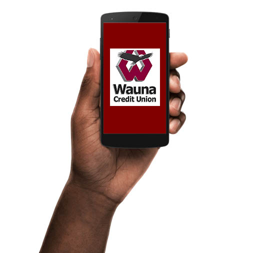 Phone with Wauna mobile banking app