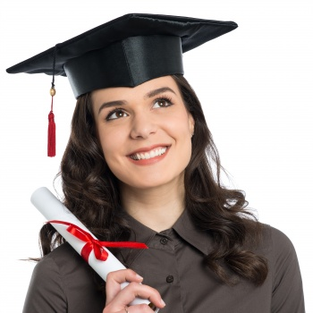 Graduate holding a diploma-not a link